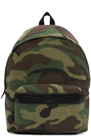 Saint Laurent - Green Camouflage City Backpack