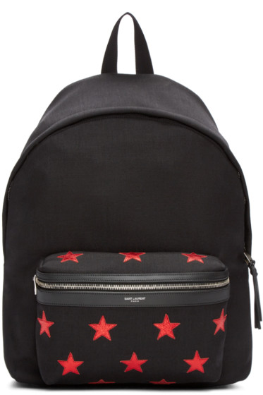 Saint Laurent - Black Canvas Stars Backpack