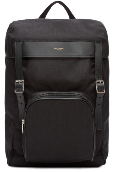 Saint Laurent - Black Canvas Buckle Backpack