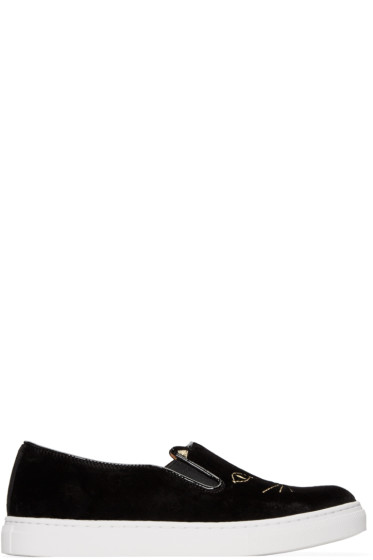 Charlotte Olympia - Black Cool Cats Slip-On Sneakers
