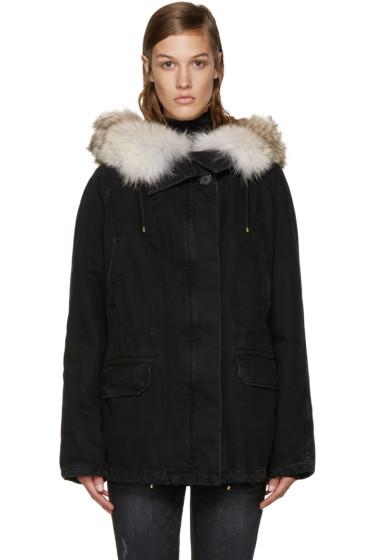 Army by Yves Salomon - Black Fur-Lined Denim Coat
