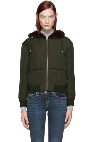 Army by Yves Salomon - Reversible Green Nylon & Fur Bomber Jacket