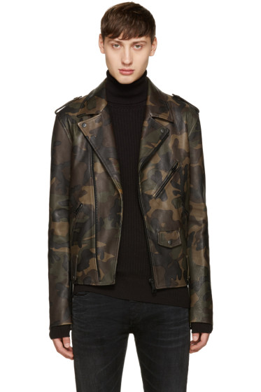 Pyer Moss - Green Camo Leather Jacket