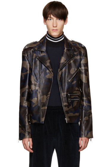 Pyer Moss - Black Camo Leather Jacket