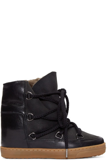 Isabel Marant - Black Sheepskin Nowles Boots