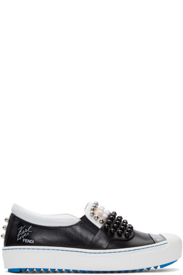 Fendi - Black Leather Studded Karlito Sneakers