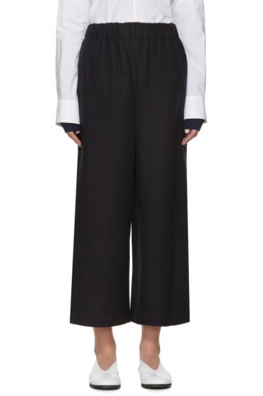 Enfold - Navy Wool Wide-Leg Trousers