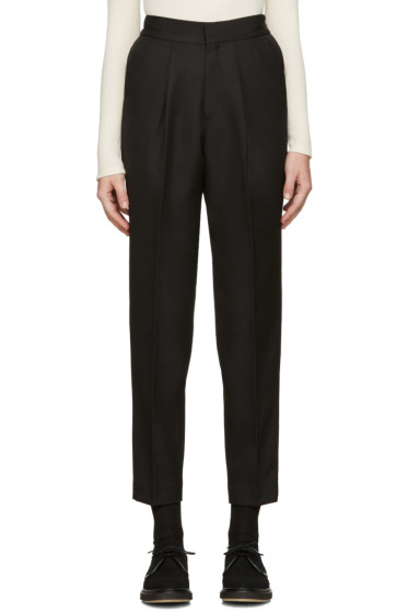 Hyke - Black Wool Tapered Trousers