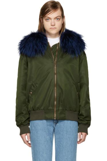 Mr & Mrs Italy - Green Fur Collar Bomber Jacket