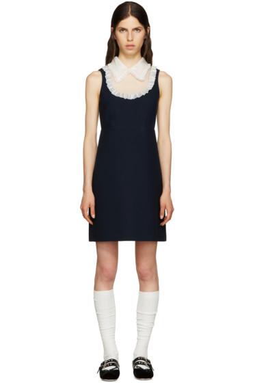 Miu Miu - Navy Organza Collar Dress