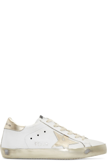 Golden Goose - White & Gold Superstar Sneakers