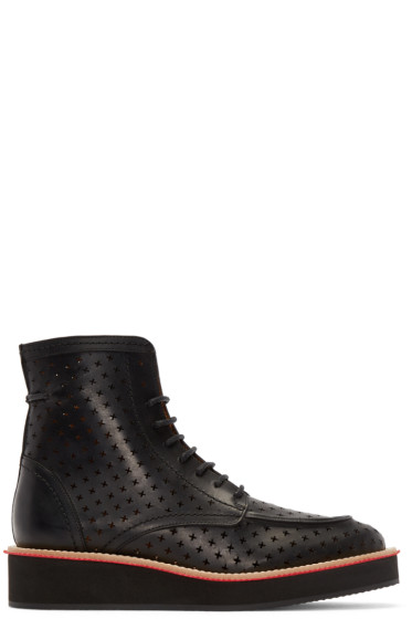 Givenchy - Black Leather Perforated Cross Boots