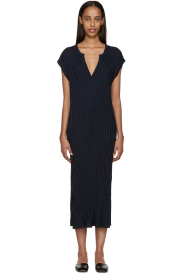 Totême - Navy Ribbed Nahia Dress