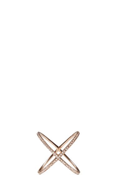 Eva Fehren - Rose Gold Diamond X Ring