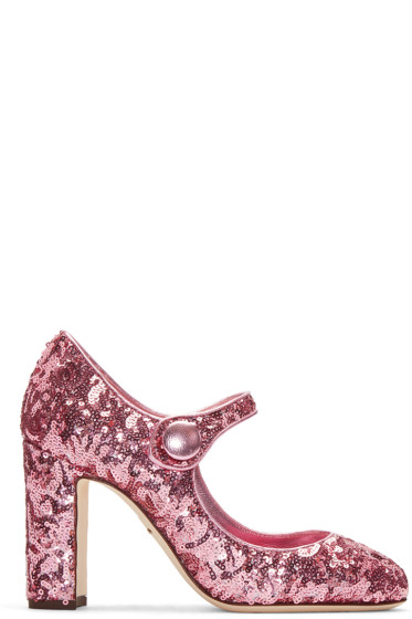 Dolce & Gabbana - Pink Sequinned Mary Jane Heels