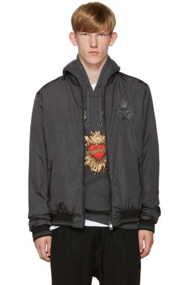Dolce & Gabbana - Grey Crown & Flower Bomber Jacket