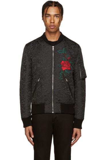Dolce & Gabbana - Black Flower Brocade Bomber Jacket
