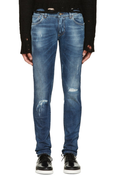 Dolce & Gabbana - Blue Embroidered Distressed Jeans