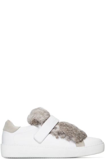 Moncler - White Leather & Fur Lucie Sneakers