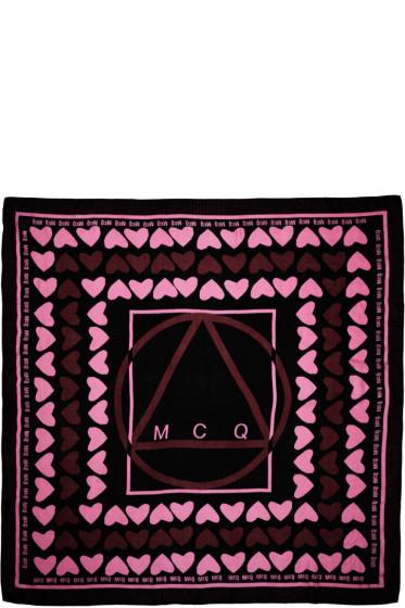 McQ Alexander Mcqueen - Black & Pink Hearts Scarf