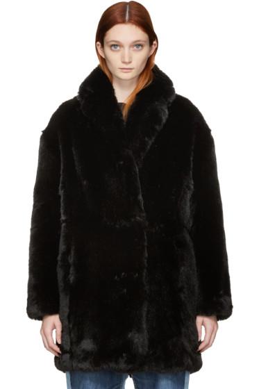 McQ Alexander Mcqueen - Black Faux-Fur Coat