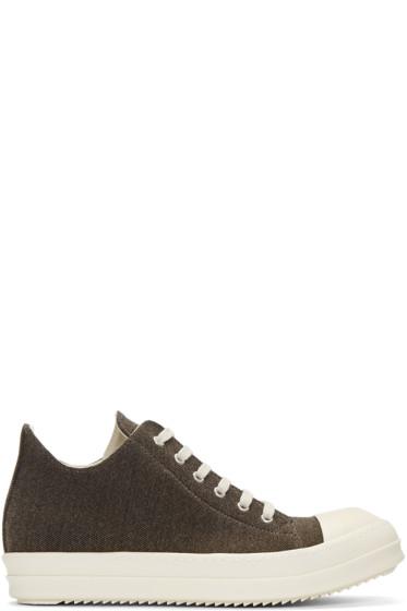 Rick Owens Drkshdw - Brown Flannel Sneakers