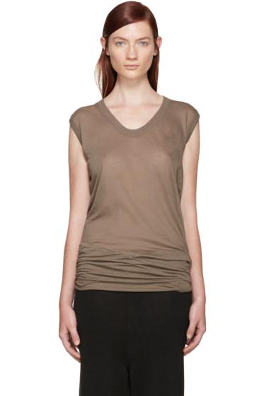 Rick Owens - Taupe V-Neck T-Shirt