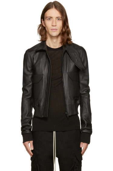 Rick Owens - Black Leather Glitter Trench Jacket