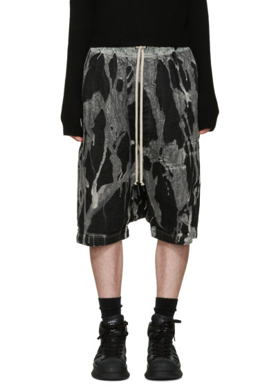 Rick Owens - Black Bleached Denim Pod Shorts