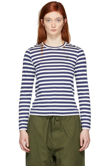 Comme des Garçons Play - Navy & White Striped Small Heart Patch T-Shirt
