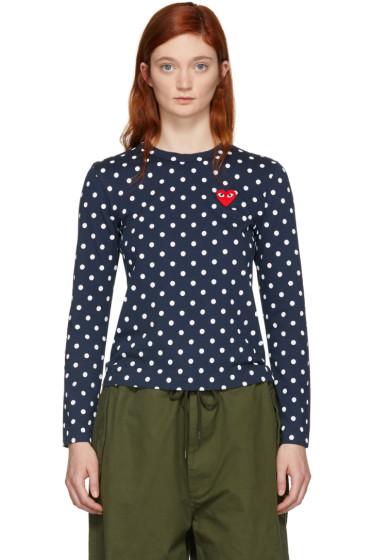 Comme des Garçons Play - Navy Polka Dot Heart Patch T-Shirt
