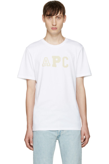 A.P.C. - White College Logo T-Shirt