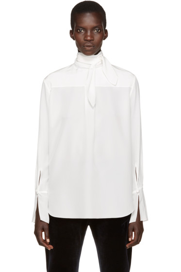 Chloé - White Neck Tie Blouse