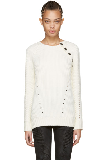Pierre Balmain - Ivory Buttoned Sweater