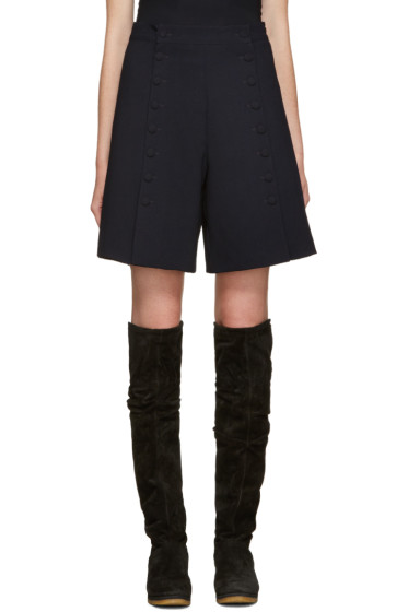 See by Chloé - Navy Buttoned Shorts