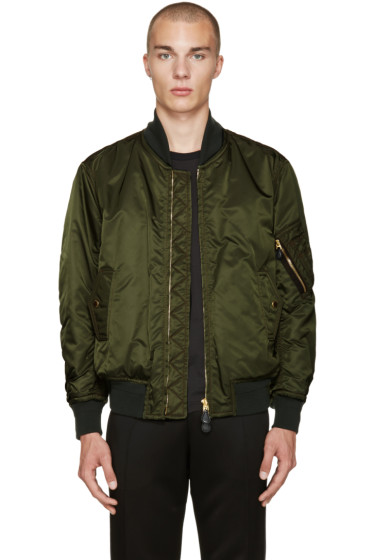 Burberry - Green Nylon Bomber Jacket
