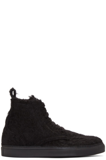 Ann Demeulemeester - Black Mohair High-Top Sneakers