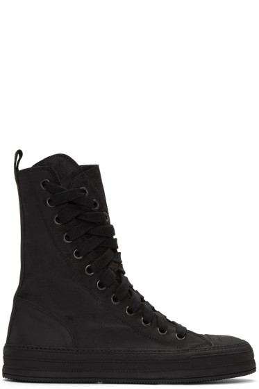 Ann Demeulemeester - Black Nubuck High-Top Sneakers