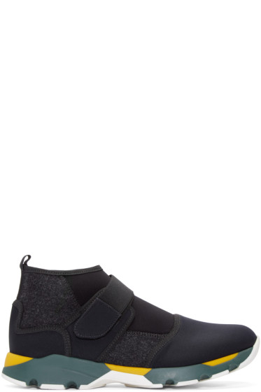 Marni - Black Neoprene High-Top Sneakers