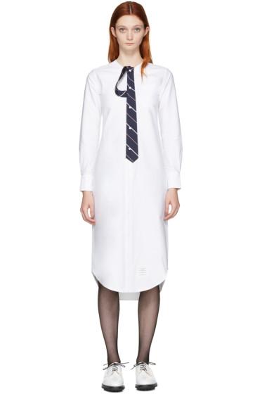 Thom Browne - White Tie Shirt Dress