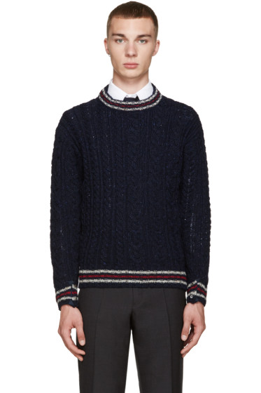 Thom Browne - Navy Cable Knit Sweater