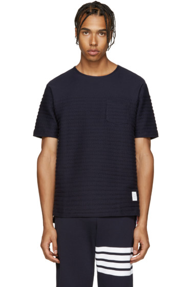 Thom Browne - Navy Rope Stitched T-Shirt