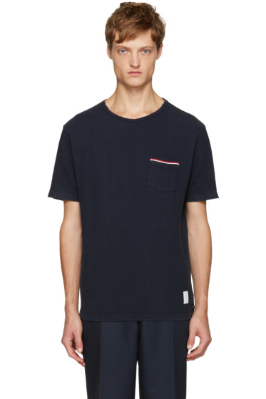Thom Browne - Navy Distressed T-Shirt