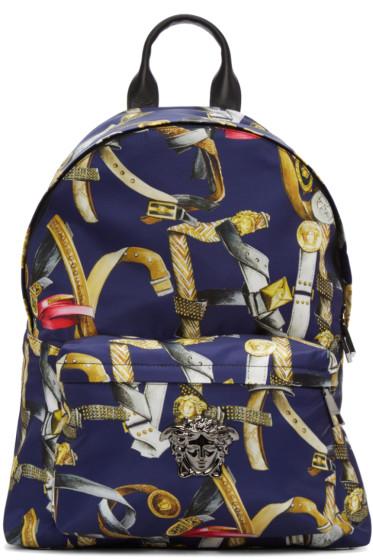 Versace - Multicolor Belts Print Backpack