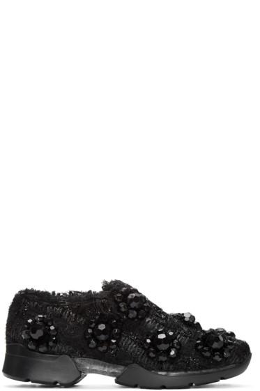 Simone Rocha - Black Floral Tweed Sneakers