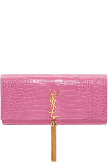 Saint Laurent - Pink Croc-Embossed Kate Tassel Clutch