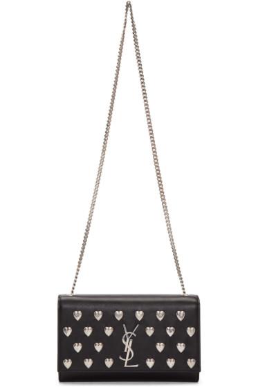 Saint Laurent - Black Medium Heart Studded Monogram Kate Chain Bag