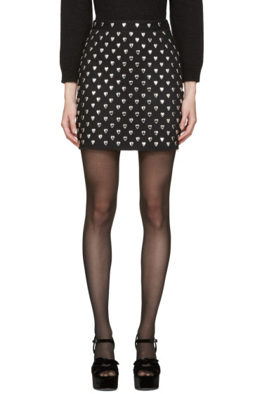 Saint Laurent - Black Heart Stud Miniskirt
