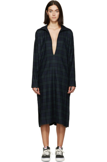 6397 - Blue & Green Flannel Winter Kafka Dress