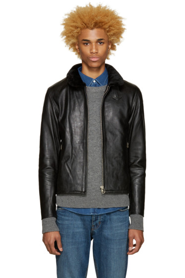 Nanamica - Black Leather Cruiser Jacket